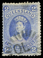 Lot 1638:1882-95 Large Chalons Wmk 1st Crown/Q Sideways SG #152 2/- bright blue.