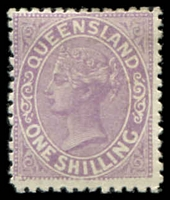 Lot 1303:1895 Lined-Oval Wmk 3rd Crown/Q Perf 12 SG #205 1/- mauve.