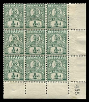 Lot 1403:1907-11 Wmk Crown/A Perf 12½,13 SG #286 ½d deep green corner block of 9 (7 **) with sheet number .