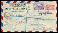 Lot 25039:1950 Registered Air Mail cover to Scotland with adhesives tied by Jeddah cds in purple, back flap removed.