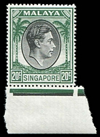 Lot 27996:1948-52 KGVI Defins Perf 17½x18 SG #24 20c black and green marginal example.