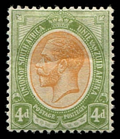 Lot 4166:1913-24 KGV Defins SG #10 4d orange yellow & olive green