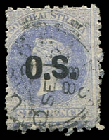Lot 9535:1874-77 QV Perf 11½-12½x10: SG #O4 6d Prussian blue.