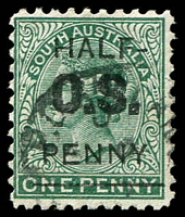 Lot 1589:1882 QV: SG #O48 ½d on 1d blue green Opt 'OS'.