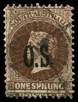 Lot 9542:1891-1903 Optd OS Type 2: SG #O32 1/- dull brown.