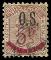 Lot 2071:1891-95 Surcharges: SG #O72 5d on 6d deep brown.