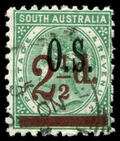 Lot 2070:1891-95 Surcharges: SG #O71 2½d on 4d deep green Optd 'OS'.