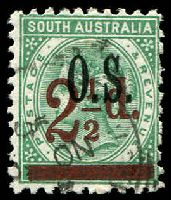 Lot 1733:1891-95 Surcharges: SG #O71 2½d on 4d deep green Optd 'OS'.