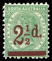Lot 1701:1891-93 Surcharges Perf 10 SG #229 2½d on 4d pale green.