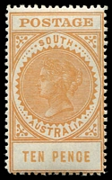 Lot 1728:1904-11 Thick 'POSTAGE' Wmk Crown/SA (Close) Perf 12 SG #287 10d dull yellow.