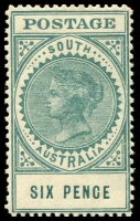 Lot 1730:1906-12 Thick 'POSTAGE' Wmk Crown/A Perf 12,12½ SG #300 6d blue-green