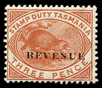Lot 1950:1900 Overprinted 'REVENUE' SG #F34 3d chestnut.
