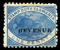 Lot 10597:1900 Overprinted 'REVENUE' SG #F36 1d blue.