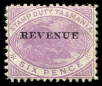 Lot 1952:1900 Overprinted 'REVENUE' SG #F37 6d mauve.