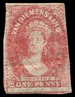 Lot 10254:1857-69 Imperf Chalon Wmk Double-Lined Numeral SG #29 1d carmine 3 margins close to large.