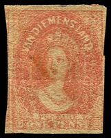 Lot 10250:1857-69 Imperf Chalon Wmk Double-Lined Numeral SG #28 1d dull vermilion, 3½d margins.