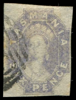 Lot 1740:1860-67 Imperf Chalon Wmk Double-Lined Numeral SG #44 6d dull slate-grey, four clear margins.