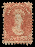 Lot 2214:1863-71 Chalon Wmk Double-Lined Numeral Perf 10 SG #58 1d dull vermilion.
