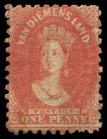 Lot 1757:1863-71 Chalon Wmk Double-Lined Numeral Perf 10 SG #57 1d brick-red.