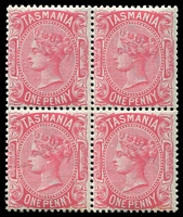 Lot 1355:1880-91 Sideface Wmk TAS Perf 12 SG #164 1d pink block of 4.