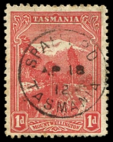 Lot 1803:Spalford: - framed 'SPALFORD/AP18/12/TASMANIA' on 1d Pictorial. [Rated R]  PO 6/2/1883; closed 31/12/1965.