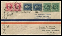 Lot 4492 [1 of 2]:1927 Cuba - Key West Florida cover with Cuban adhesives cancelled Habana OCT 28 1927 with light first flight cachet at lower left and pilots signatures at left, backstamped Key West OCT 29 1927.