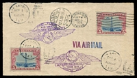 Lot 4493 [1 of 2]:1928 USA - Mexico Intermediate cover flown from San Antonio to Laredo on OCT 1 with appropriate cancels and First Flight cachet in purple, includes Post Office flyer on Air Mail reduction to 5c per first ounce.