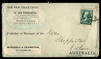 Lot 4488 [1 of 2]:1888 Advertising Envelope For Winchell & Crampton used to Shepparton Victoria Australia with 4c Jackson tied by indistinct cancel, full advertisement on back together with Shepparton backstamp JE 30 88, nice early advertising cover.
