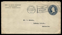 Lot 4758:1913 usage to Australia of embossed 5c blue Washington envelope for Geo. E. Keith Company Campello Massachusetts with Campello Station flag cancel and Brockton Mass cds SEP5 1913 and backstamped Sydney Oc 13 1913.