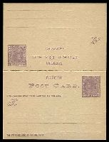 Lot 2205:1885 QV 1d+1d Violet Reply Card Stieg #P8 Optd Stamp Duty Type 1.