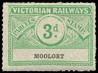Lot 11316:1934 Eighth Series Third Issue 3d green Die II on white with grey pattern issued for Moolort, scarce.
