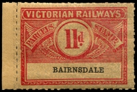 Lot 11317:1934 Third Issue Winged Series 11d scarlet on ochre with grey pattern issued for Bairnsdale.