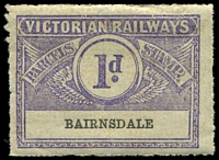 Lot 11313:1934 Third Issue Winged Stamps 1d bluish violet on pale sage-green with orange-yellow pattern issued for Bairnsdale, scarce.
