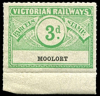 Lot 11314:1934 Winged Stamps Third Issue 3d Die II 3d emerald on white marginal single, issue for Moolort, scarce/rare.