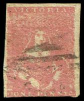 Lot 9690:1854-57 Half-Length Campbell & Ferguson SG #27a 1d dull rose-red, 2½ good margins.