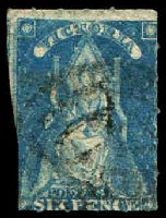 Lot 1868:1858 Queen-On-Throne Wmk Large Star Rouletted 5½-6½ SG #73 6d bright blue, Cat £15.