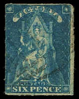 Lot 2074:1858 Queen-On-Throne Wmk Large Star Rouletted 5½-6½ SG #73 6d bright blue, Cat £18.