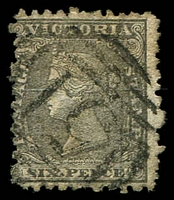 Lot 2355:1861 Calvert Woodblock Wmk Value in Words SG #102 6d black.