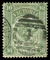 Lot 2176:1884-96 Stamp Duty Typo Wmk 2nd V/Crown Perf 12½ SG #272 10/- dull bluish green, pinhole.
