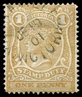Lot 1871:1884-96 Stamp Duty Typo Wmk 2nd V/Crown Perf 12½ SG #265 1d ochre.