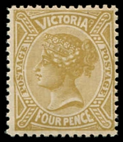 Lot 11676:1905-13 'POSTAGE' Wmk Crown/A Perf 12x12½ or 12½ SG #421 4d yellow-bistre wmk inverted.