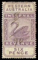 Lot 3350:1893 Wmk CA Over Crown SG #F14 6d dull purple.