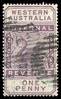 Lot 18231:1893 Wmk CA Over Crown SG #F11 1d dull purple