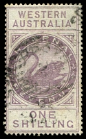 Lot 3405:1893 Wmk CA Over Crown SG #F15 1/- dull purple