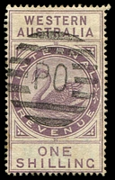 Lot 3050:1897 Wmk W Crown A SG #F22 1/- dull purple.