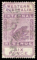 Lot 3049:1897 Wmk W Crown A F21 6d dull purple.