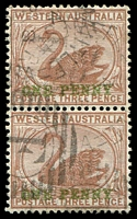 Lot 3352:1893 Surcharged in Green SG #107 on 3d pale brown vertical pair