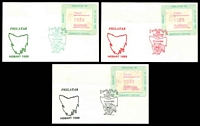Lot 772:1989 Philatas Exhibition set of 3 Exhibition covers all with 39c Frama tied by special Exhibition daily cancel. (3)