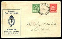 Lot 4464:APO 1937 1d QM & 2d KGVI Die I tied to illustrated FDC by Albert cds 10 MAY37.