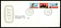 Lot 3997:APO 1969 Flight Strip of 3 tied to long FDC by GPO Melbourne cds 12NOV69.